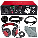Focusrite Scarlett Solo USB Audio Interface (2nd Generation) Bundle with XLR Cable + 1/4 Inch Cable + Samson Studio Headphones + FiberTique Cleaning Cloth...