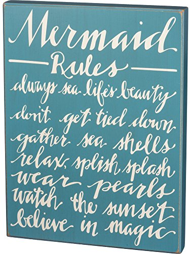 Primitives by Kathy Distressed Blue Box Sign, Mermaid Rules Review