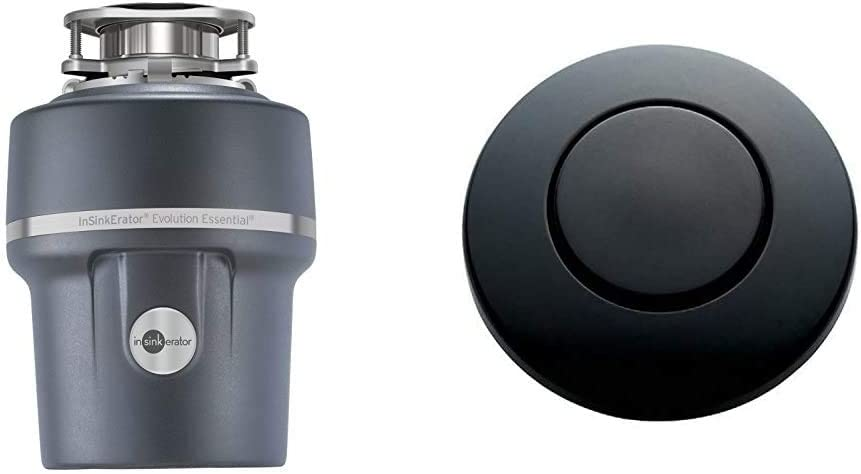 InSinkErator Garbage Disposal + Air Switch + Cord, Evolution Essential XTR, 3/4 HP Continuous Feed & STC-MTBLK Push SinkTop Switch Button, Matte Black