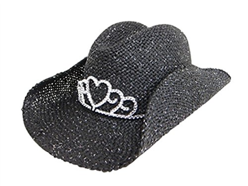 Handwoven Kids Straw Sparkly Cowboy Hat, Girls Costume Tiara Cowgirl Party Hat (Black)