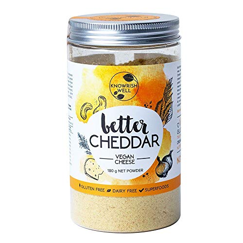 Knowrish Well Better Cheddar Vegan Cheese 180g - Vegan, Dairy and Cruelty Free, Tasty Like Cheddar, Organic Cashews, Nutritional Yeast, 22 serves