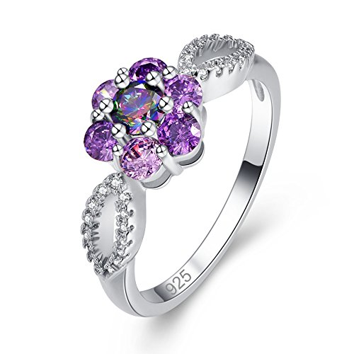 Veunora Graduation Gift 925 Sterling Silver Created 4x4mm Rainbow Topaz Filled Infinity Floral Ring Size 6