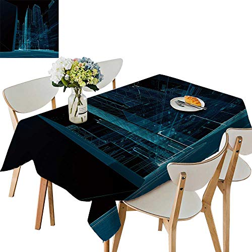 UHOO2018 Printed Fabric Tablecloth Square/Rectangle City Render Lines Digital Elements Digital skyscrappers Wedding Party Restaurant,50 x 81inch ()