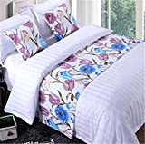 YIH Bed Runner Violet Floral With Cushion Cover, Luxury Hotel Wedding Room Bedroom Decorative Bed End Scarf Protector Slipcover Pad For Pets, 94 Inches By 19 Inches