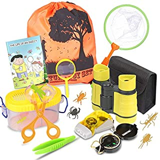 Outdoor Explorer Kit - Bug Catcher Kit with Binoculars, Flashlight, Compass, Magnifying Glass, Butterfly Net and Backpack Toy for Boys Girls Age 3-12 Year Old Camping Hiking