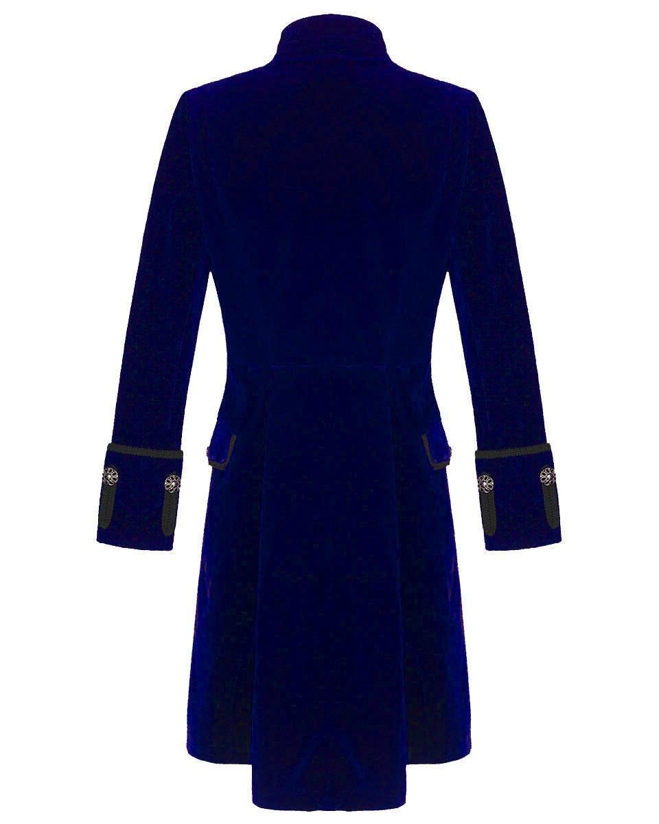 Mens Blue Velvet Vintage Goth Steampunk Victorian Handmade Frock Coat 4