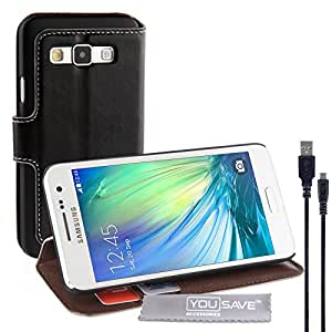 Yousave Accessories Samsung Galaxy A3 (2015 Model) Case Black PU Leather Wallet Stand Cover And Micro USB Cable