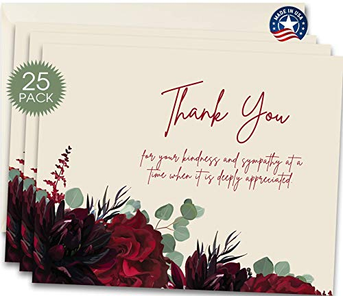 25 Funeral Thank You Sympathy Acknowledgement Note Cards with Envelopes, Bulk Funeral Thank You Notes (Floral Eucalyptus)