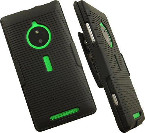 NAKEDCELLPHONE'S BLACK RUBBERIZED HARD CASE COVER + BELT CLIP HOLSTER STAND FOR NOKIA LUMIA 830 PHONE (AT&T, UNLOCKED) (Nokia 830 Case Holster)