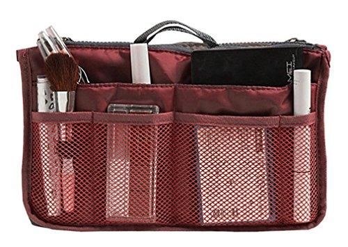 Insert Bag Organizer, Bag in Bag for Handbag Purse Organizer (13 Pockets, Wine (Pocket Handbag Organizer)
