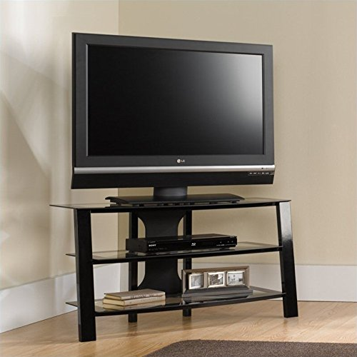 Sauder Mirage Panel TV Stand - Black (Corner Tv Cabinet With Hutch)