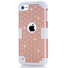 IPod Touch 5/6 Case,LUOLNH iPod Case starlight Dual Layer Protective Hard Impact Case Cover for Apple iPod touch 5th/6th Generation(Rose Gold /Grey)