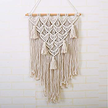 LSHCX Macrame Wall Hanging Tapestry Boho Wall Decor Minimalist White Tapestry Handmade Woven Wall Art 12.6 W x 21.6 L