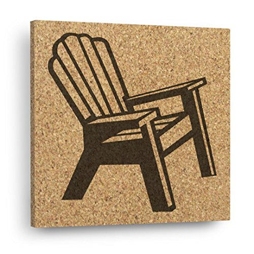 BEACH CHAIR Wall DéCork - Mix and Match Cork Art Tiles / Kitchen Trivet - Coastal Decor Adirondack Lights Pads