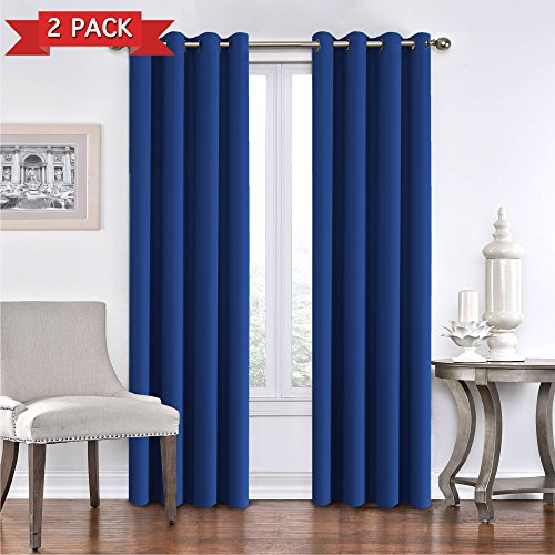 Blackout Curains Draperies for Kids Boy Room Noise Reducing Thermal Insulated Solid Ring Top Blackout Window Curtains/Drapes for Living Room/Bedroom (Two Panels 52 x 84 Inch, Royal -