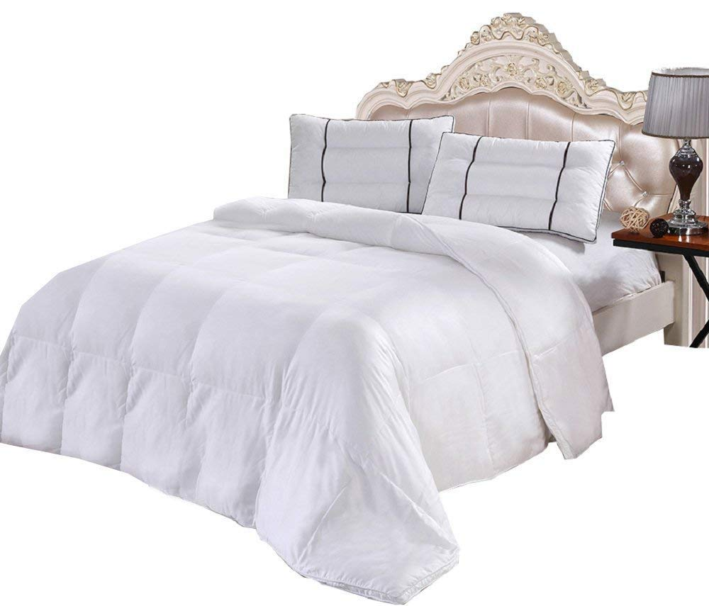 Bamboo Down Alternative Comforter, 300-Thread-Count, Overfilled with Alternative Down clusters, Bamboo fabric shell, King size , Solid White
