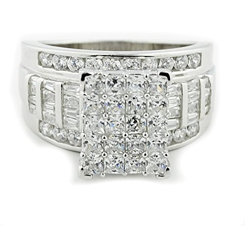- 2.5ctw 3 in 1 Style Bridal Wedding Ring 12mm Wide Round and Baguette CZ Sterling Silver (rhodium-flashed-silver, 9)