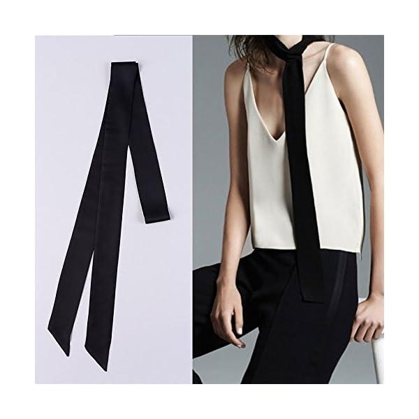 L'vow Women's Stylish Soft Black Thin Skinny Scarf BoyFriend Tie Necktie Choker