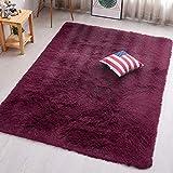 PAGISOFE Burgundy Fluffy Shag Area Rugs for Bedroom