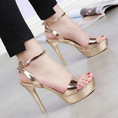 Code SHOESHAOGE Chaussures Or Petites Talons Talon D'Été Boucle unie Couleur Fine Imperméable Un Sandales Mot Toe Taiwan HPHx1wqr