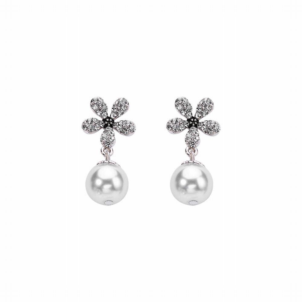 Ling Studs Earrings Hypoallergenic Cartilage Ear Piercing Simple Fashion Earrings Ear Jewelry Earrings Imitation Pearl Flower Simple Short Pendant Brown