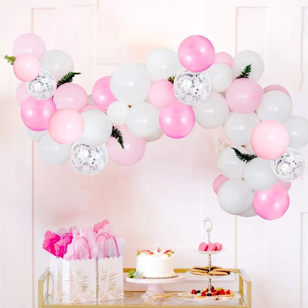 60 Pezzi 12 Pollici Rosa Pastel e Bianco per Decorazioni per Fondali Baby Shower Festa di Compleanno Palloncini Coriandoli Rosa e Argento