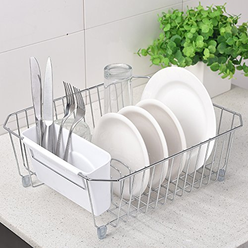 IKEBANA Rust Proof In-sink Kitchen Steel Dish Drying Rack, D