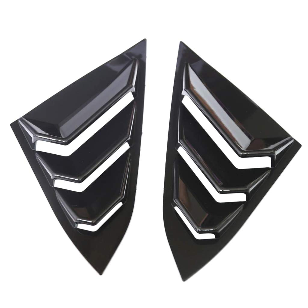 Homyl 2x Car ABS Plastic Rear Window Side Tuyere Louvers for Honda Civic Self-adhesive - Black 2
