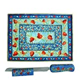 Judaica Kingdom YE-CB-NS-PR-9 Pomegranates Hand Painted Wooden Challah Board Knife and Stand