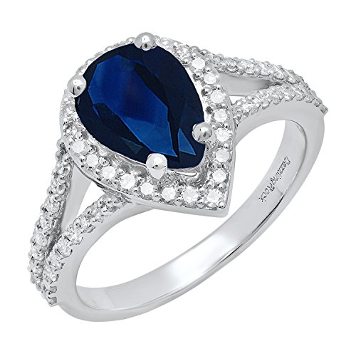 Dazzlingrock Collection 14K 10X7 MM Pear Lab Created Blue Sapphire & Round Diamond Engagement Ring, White Gold, Size 6