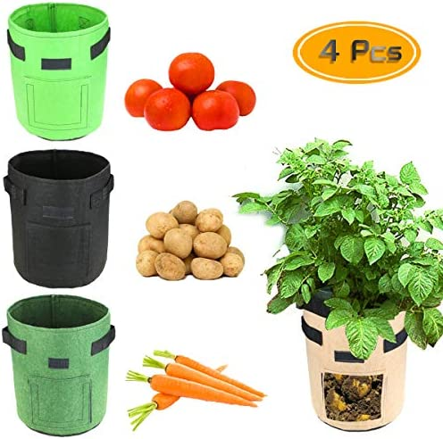 BcPowr 4 PCS Garden Grow Bag with Flap and Handles for Harvesting Potato, Carrot, Onion, tomata,Vegetable and Flower Garden Bag Planter Pots