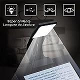 Glückluz Libro luz LED Lampara de Lectura Recargable, Clip Luz de Lectura con Brillo Ajustable Noche Lampara de Lectura Marca de Libro con Brazo Flexible [Clase de Eficiencia Energética A+] (Negro-Pequeño)