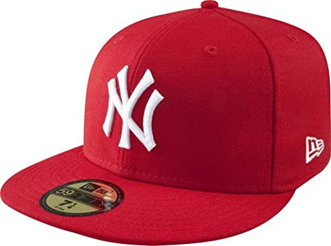 MLB New York Yankees Scarlet with White 59FIFTY Fitted Cap, 7 1/2 - New York Yankees Fabric