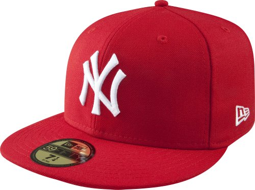 (MLB New York Yankees Scarlet with White 59FIFTY Fitted Cap, 7 5/8)