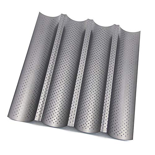 FAVENGO Baguette Pan Nonstick Perforated French Bread Pans 4 Wave Loaf Bake Mold(15x13 Inch)