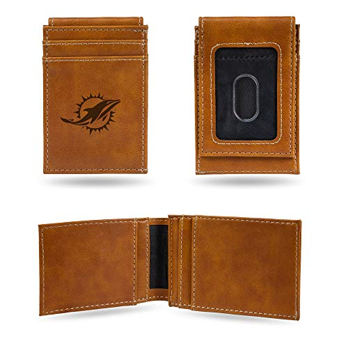 Rico Industries NFL Miami Dolphins Laser Engraved Front Pocket Wallet, Brown