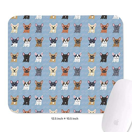 Family Game Office Mouse Pad Lovely Pet French Bulldog Breed Novelty Durable Non-Slip Rubber Rectangular Mouse Pad