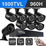 ISEEUSEE 720p Full-HD 8Channel 960H DVR Security Camera System Kits wth HDMI Output 1500 TV line Waterproof metal Outdoor/Indoor Night Vision Heavyduty Surveillance Cameras Motion Detection NO HDD