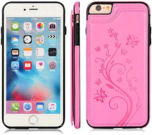 Zeebox® iPhone 6 Plus/iPhone 6S Plus ケース, 軽量 耐衝撃 柔軟 PUレザー バックケース, 脱着簡単 弧状設計 付きスタンド機能 マグネット開閉式 カード収納付 iPhone 6 Plus/iPhone 6S Plus 用 Case Cover, ピンク