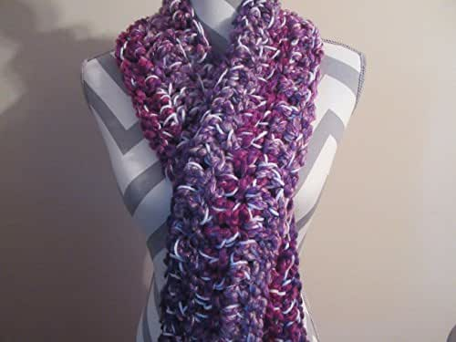 Hand Crocheted Purple Power Chunky Long Scarf Shawl Scarf by Ladies Fashion Design One Size Fits All Handmade Gift for Her Gift Bag and Ribbon Included