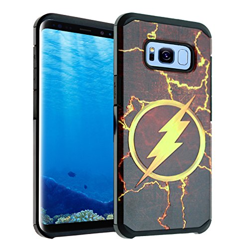 Superhero Flash (Galaxy S8 Case, IMAGITOUCH 2-Piece Style Slim Fit Armor Case with Dual Layer Protective Cover Air Cushion Design Superhero The Flash for Samsung Galaxy S8 The Flash Hybrid)