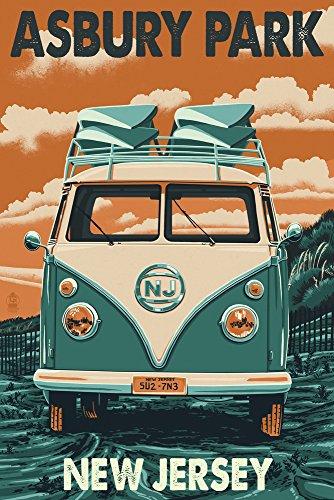 - Asbury Park, New Jersey - Camper Van Letterpress (9x12 Art Print, Wall Decor Travel Poster)