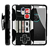 Cheap MINITURTLE Case Compatible w/ Droid Turbo 2 Case | Rugged Armor Impact Hard Rubber Durable Unique Creative Cover + Belt Clip Motorola Kinzie Game Controller