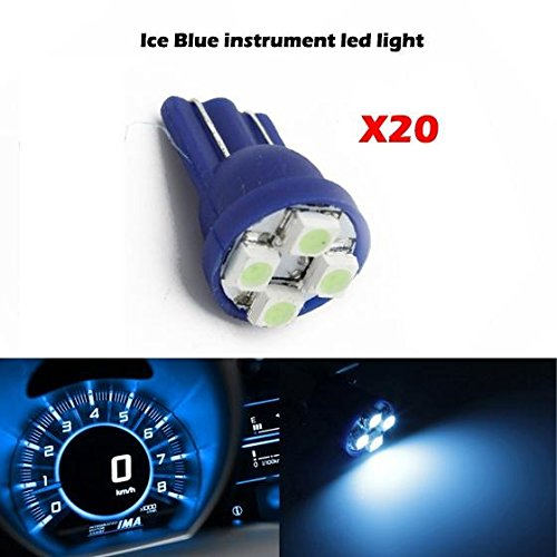 Partsam 20pcs Ice Blue T10 PC194 168 LED Light Bulb 4-SMD Instrument Panel Cluster Speedometer Odometer Gauges Dash Lighting Indicator - Camaro Tail Panel