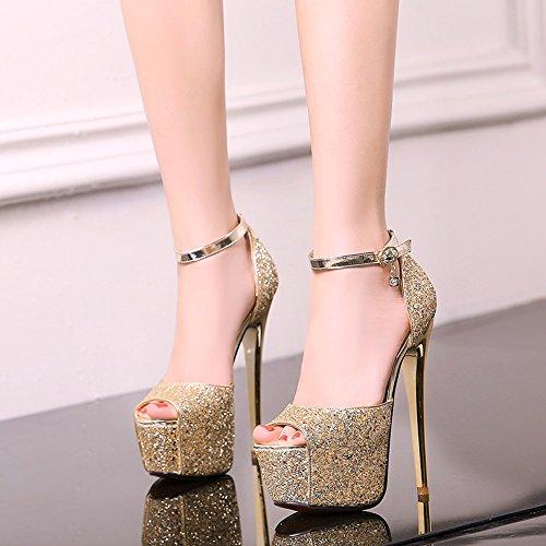 167be838 80% OFF ZHIRONG Plataforma impermeable de las mujeres tacones altos  lentejuelas talón fino sandalias de boca de pescado zapatos ...