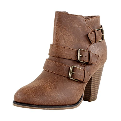 Forever Women's Buckle Strap Block Heel Ankle Booties, Tan 10