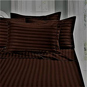 Just Linen 300 Thread Count 100% Cotton Sateen, Stripe Friar Brown Color, European King Bedding Sheet Set with Deep Pocketed Fitted Sheets