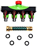 RAAYA 4 Way Hose Splitter With Short Garden Coil Hose Arthritis Friendly leak-proof Water Splitter Quick Switch Connector Ball Valve Rubber Washers Ultra High Flow at Four Outlets One Year Warranty