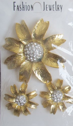 - Gold Tone FLOWER Shape BROOCH & EARRINGS Set w CRYSTALS in Center (NOT Real Gold)