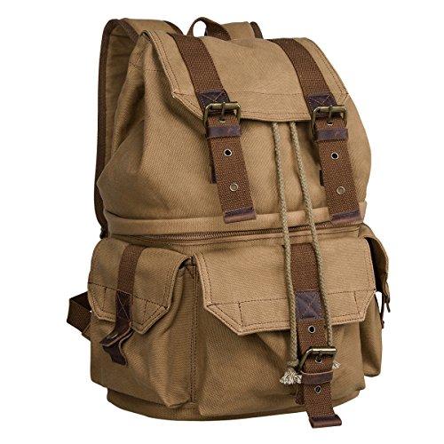 (S-ZONE Canvas DSLR SLR Camera Shoulder Bag mens Backpack women Rucksack Bag with Waterproof Rain Cover for Sony Canon Nikon Olympus)